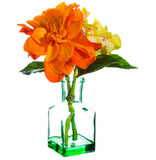 Orange Dahlia In Glass Vase