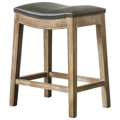 Elmo Faux Leather Gray Backless Counter Stool