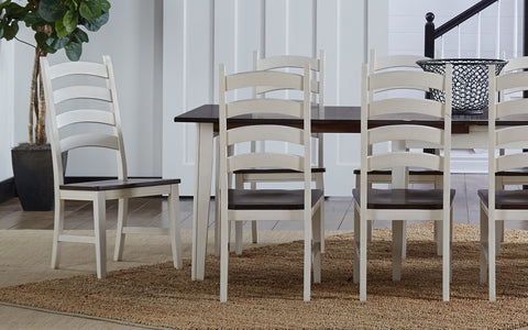 Toluca Chalk White + Cocoa Bean Ladderback Dining Chair