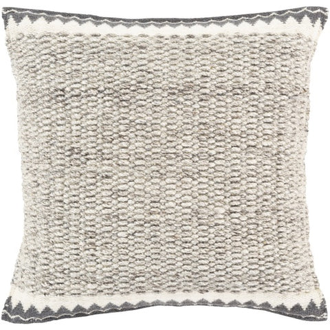 "Faroe Gray Textured Pillow 22"" x 22"" Poly"