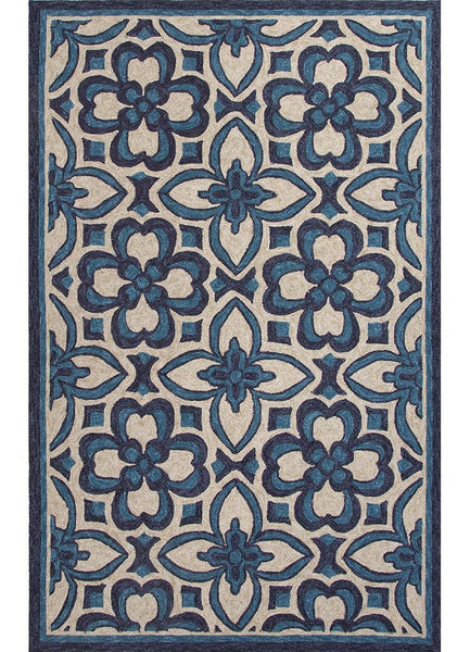 Catalina Mosaic Trellis Indoor Outdoor Rug Blue