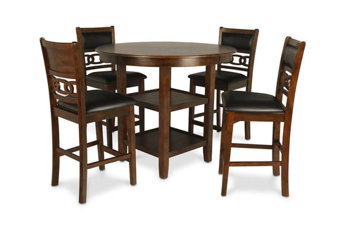 Gia Brown Counter Table w/ Chairs (5 Pc. Set)