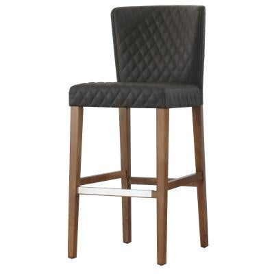 Albie Charcoal Gray Upholstered Bar Stool