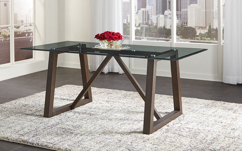 Palm Canyon Trestle Glass Top Table