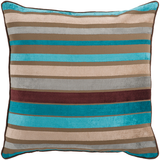 Aqua + Tan Velvet Stripe Pillow 22x22