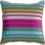 Pink + Aqua Velvet Stripe Pillow 22x22