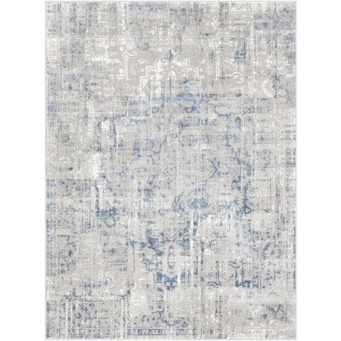 Katmandu Light Gray + Blue Design Rug