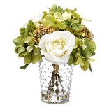 Rose + Hydrangea in Glass Vase