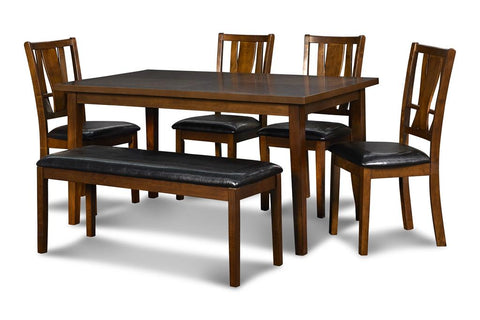 Dixon Standard Dining Table, 4 Chairs + Bench (6 Pc Set)