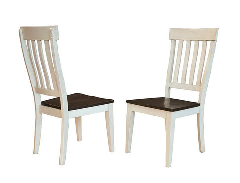 Toluca Chalk White + Cocoa Bean Slatback Dining Chair