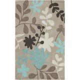 Cosmopolitan Khaki with Teal, Cream and Brown Flowers Rug
