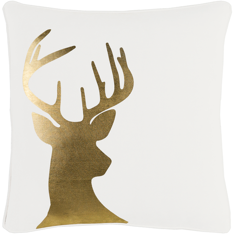 "Holiday Gold Deer Silhouette Pillow Poly 18"" x 18"""