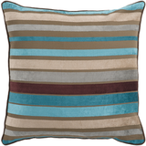 Aqua + Tan Velvet Stripe Pillow Cover Only