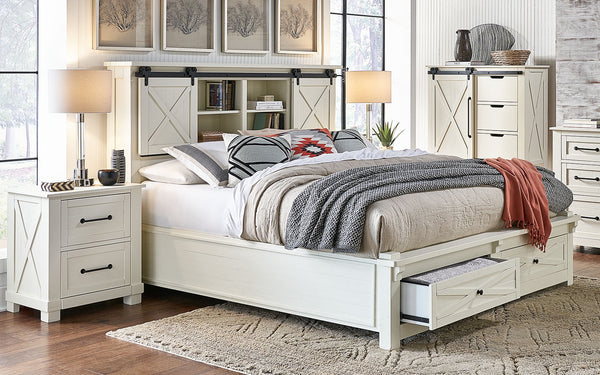 Sun Valley White California King Headboard Storage Bed