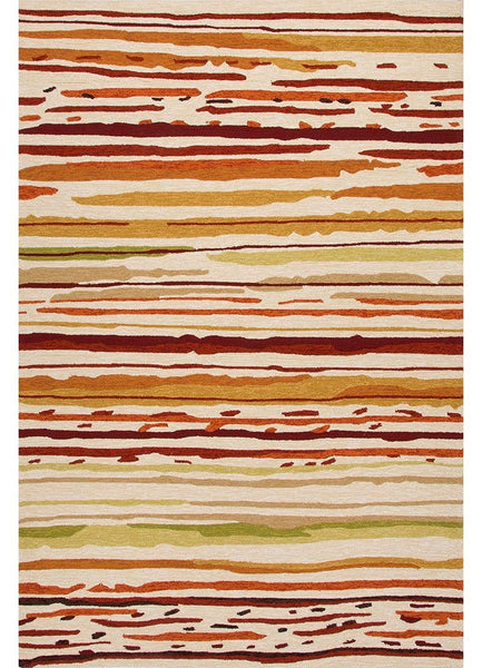 Colours - Sketchy Lines - Indoor Outdoor Orange/Red Rug