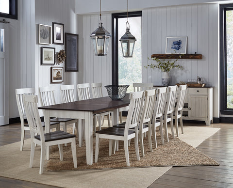 Toluca Dining Table - Chalk White + Cocoa Bean Finish