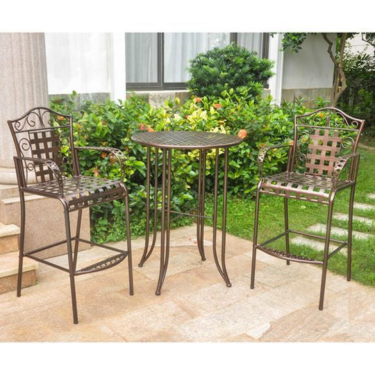 Outdoor Wrought Iron Bar Height Bistro Set
