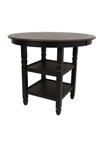 Prairie Point Black Round Counter Table W/ Shelves