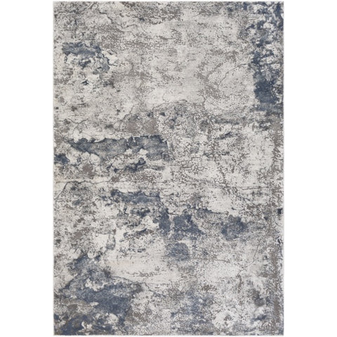 Tibetan Gray + Blue + White Area Rug