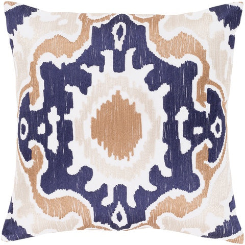 "Effulgence Camel + Navy Pillow 20"" x 20"" Down"