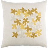 Linen Yellow & Mustard Flower Pillow