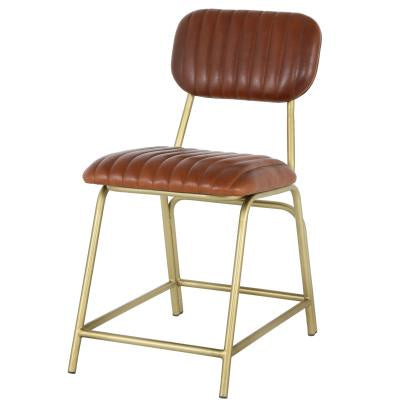 Lewis Ale Brown Leather Chair Gold Legs