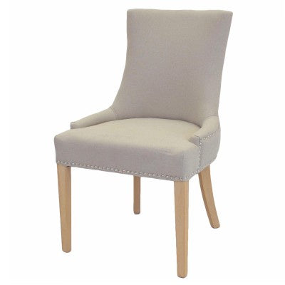 Charlotte Natural Wood Finish Cream Upholstered Dining Chair