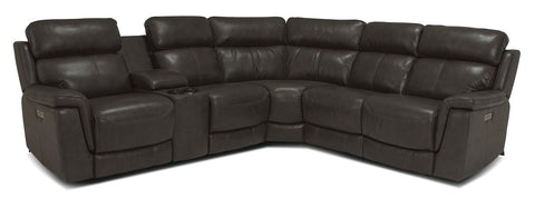 Granada Power Reclining Sectional Without Console As Shown On Floor