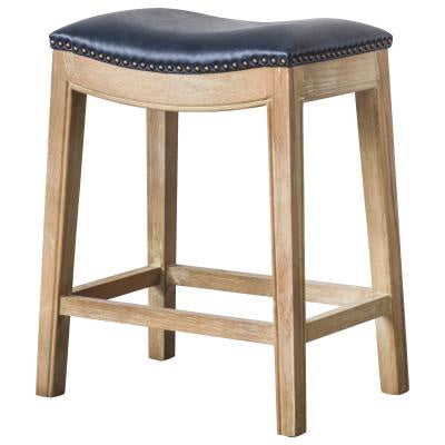 Elmo Vintage Blue Leather Backless Counter Stool