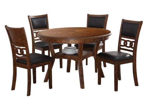 Gia Brown Round Dining Table w/ Chairs (5 Pc Set)