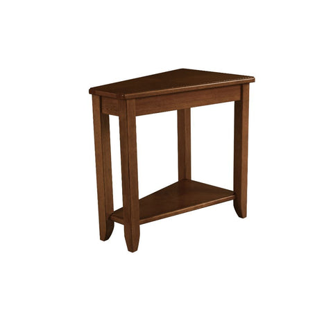 Oak Finish Wedge End Table