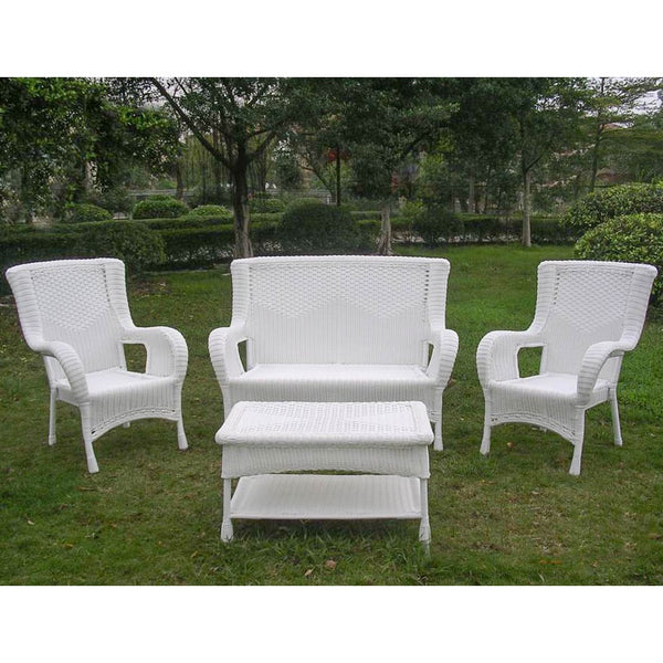 White Wicker Settee Set