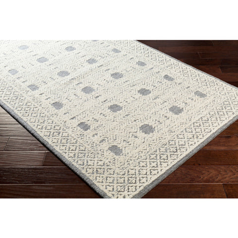 Louvre Gray + Ivory Wool Area Rug