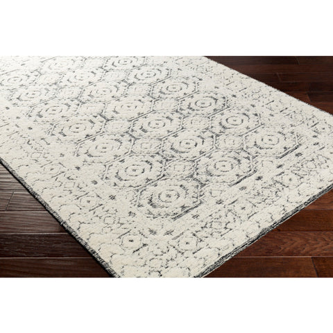 Louvre Black + Ivory Wool Area Rug