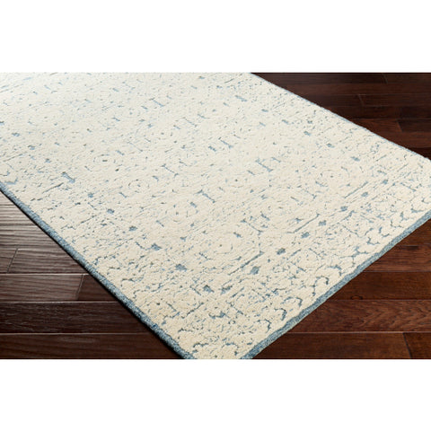 Louvre Blue + Ivory Wool Area Rug