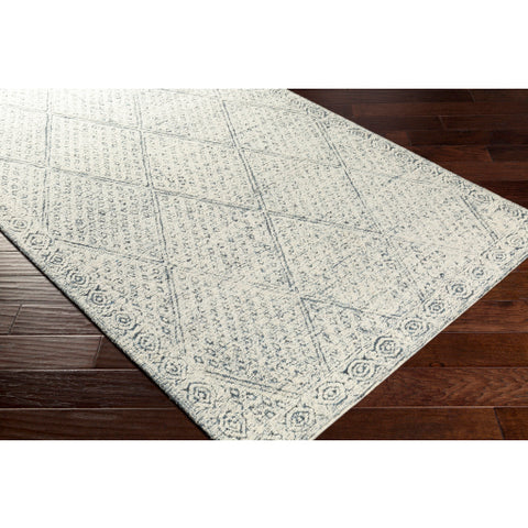 Louvre Navy Blue + Ivory Wool Area Rug