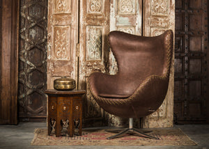 SHE-066 Egg Chair in Brown PU Leather TX3005