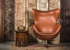 SHE-066 Egg Chair in Brown PU Leather TX4205