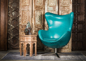 SHE-066 Egg Chair in Teal PU Leather TX4225