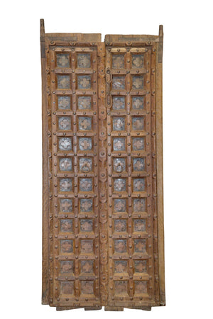 Antique Indian teakwood and iron doors from a haveli