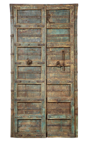 Antique Indian teak wood pair of interior doors