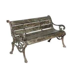 Vintage Indian teak wood and cast iron garden bench