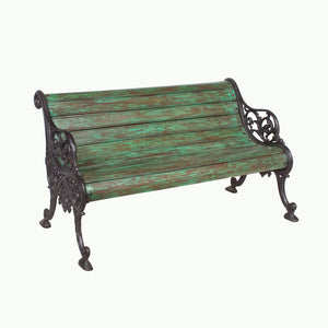 Vintage Indian teak wood and iron garden bench