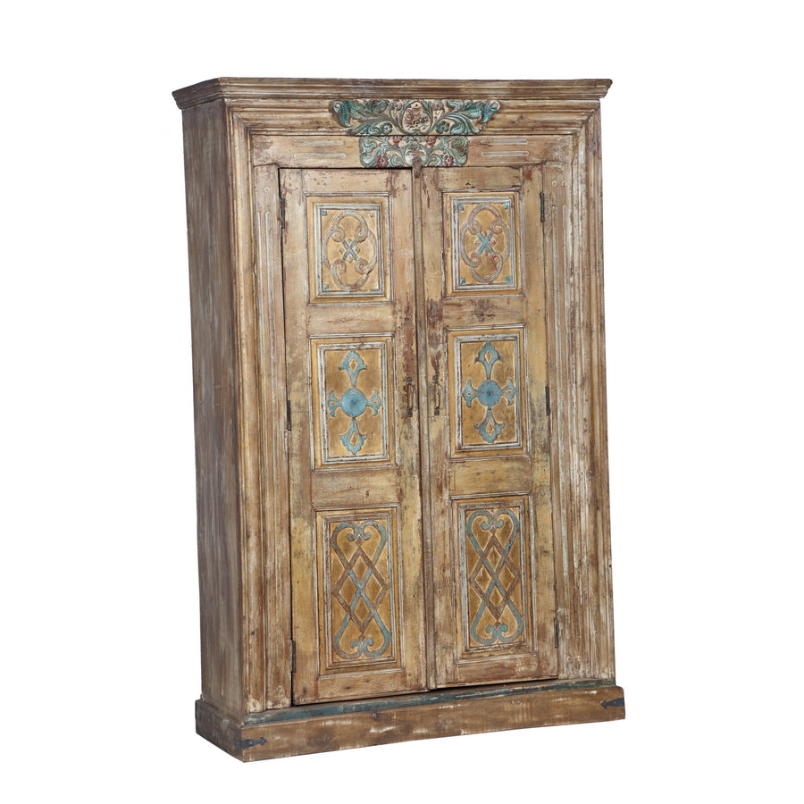 Armoire, the façade made from an antique Indian painted teak wood door +  frame from a Rajasthan Haveli - Armoire, The Façade Made From An Antique Indian Painted Teak Wood