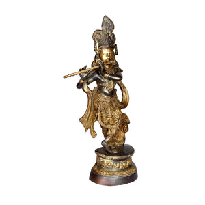 Vintage Indian Brass Krishna statue