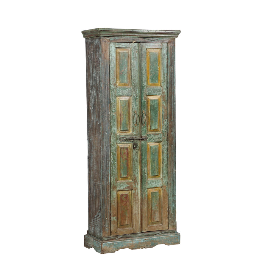 Indian painted cabinet made from antique Rajasthani doors - Indian Painted Cabinet Made From Antique Rajasthani Doors - Sunnyside TC