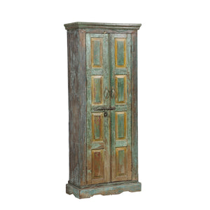 Indian painted cabinet made from antique Rajasthani doors