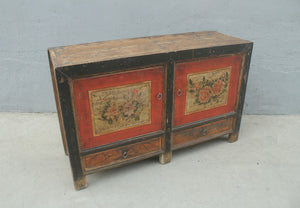 Antique Chinese painted pine cabinet converted from a top opening rice storage cabinet