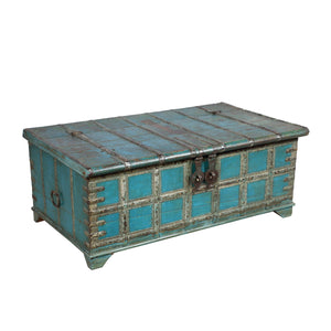 Antique Indian teak wood blanket chest with original paint and iron hardware and strappings