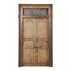 Antique Indian painted teak wood door and frame from a Rajasthan Haveli